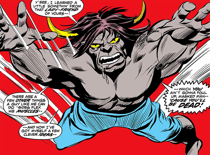 Man-Bull (Marvel Comics) (1970s appearances) leaping charge