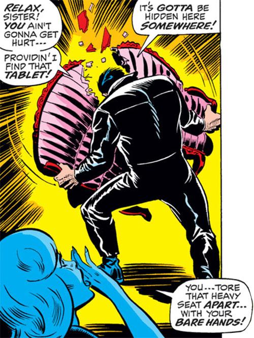 Man-Mountain Marko (Spider-Man enemy) (Marvel Comics) breaks a heavy seat in 2