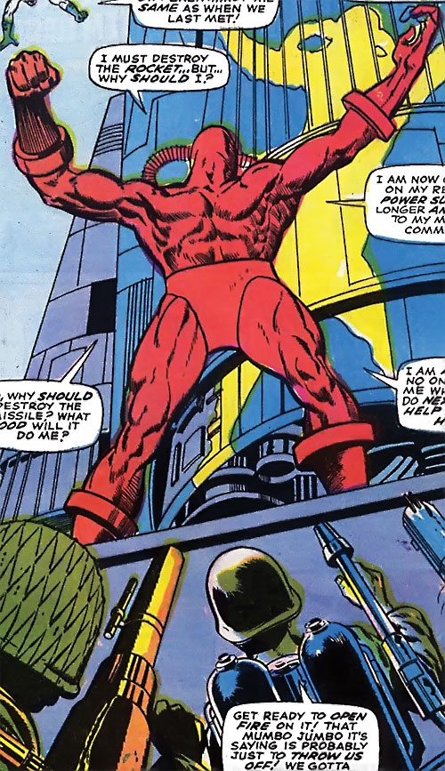 Man Slayer (Captain Mar-Vell enemy) (Marvel Comics) vs. soldiers low angle shot