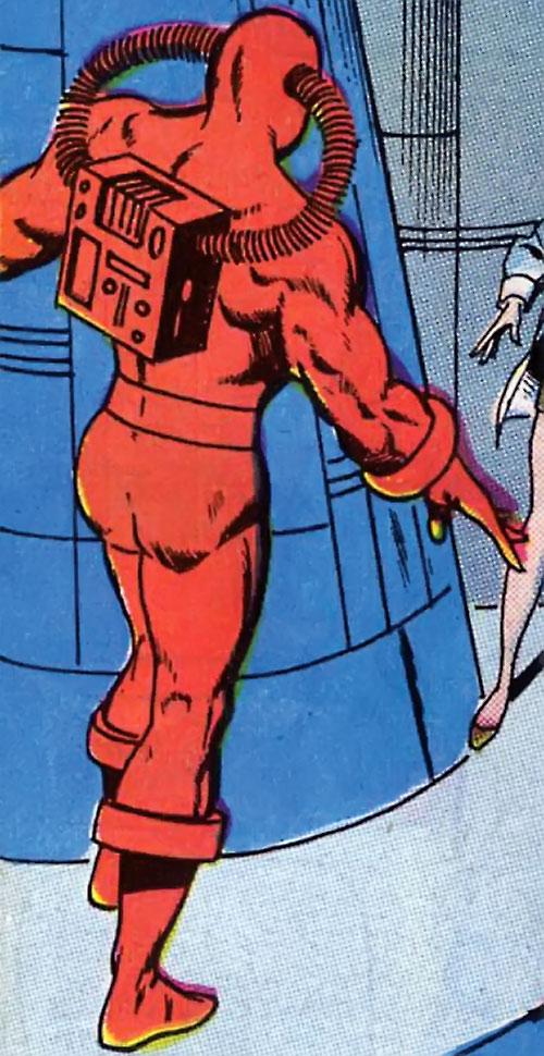 Man Slayer (Captain Mar-Vell enemy) (Marvel Comics) near a blue rocket