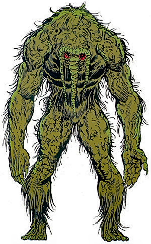 Man-Thing over a white background