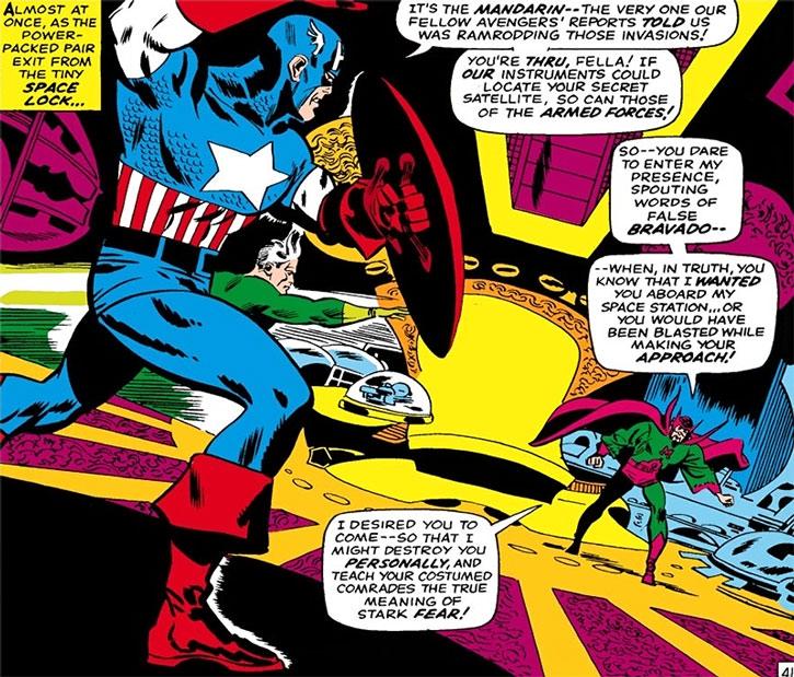 Captain America and Quicksilver confront the Mandarin
