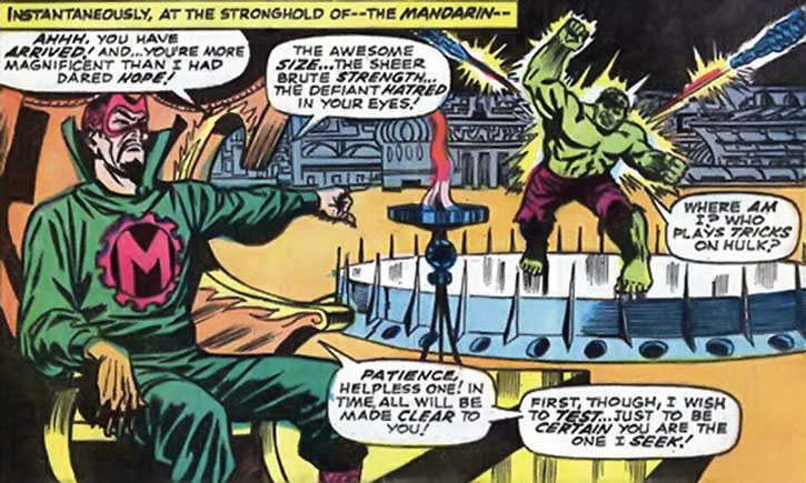 The Mandarin teleports the Hulk into his fortress