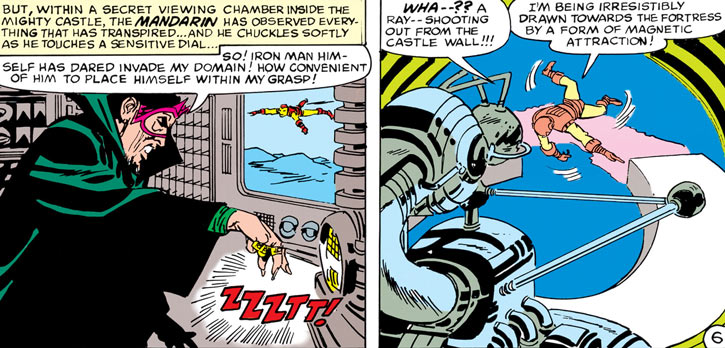 The Mandarin traps Iron Man with a magnetic attractor