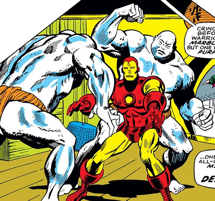 The Mandarin's marble warriors fight Iron Man