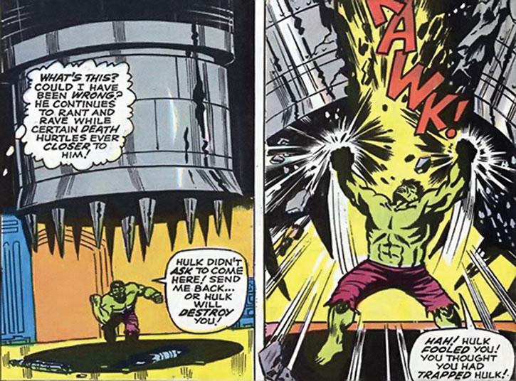 The Hulk blocks one of the Mandarin's traps