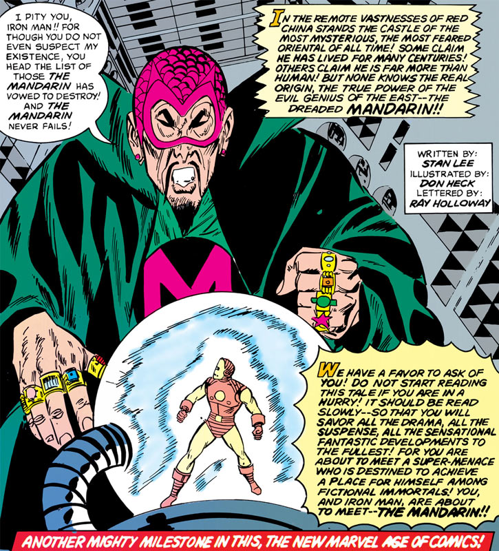 The Mandarin looking at Iron Man (splash page)