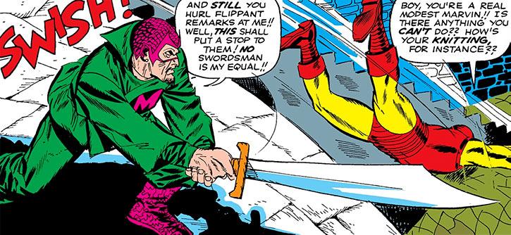 The Mandarin slashes at Iron Man with a sword