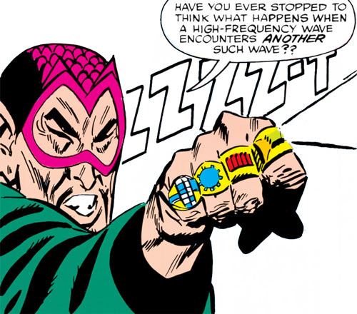 The early Mandarin (Iron Man enemy) (Marvel Comics) shoots a sound beam from a ring