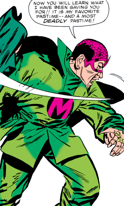 The early Mandarin (Iron Man enemy) (Marvel Comics) sheds his cloak for combat