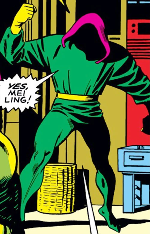 The early Mandarin (Iron Man enemy) (Marvel Comics) with a magenta hood