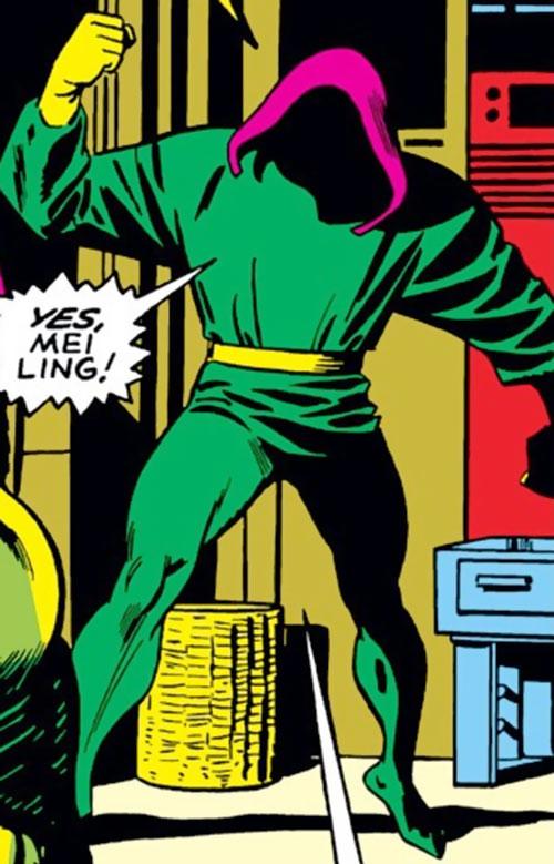 The early Mandarin (Iron Man enemy) (Marvel Comics) with a magenta hood
