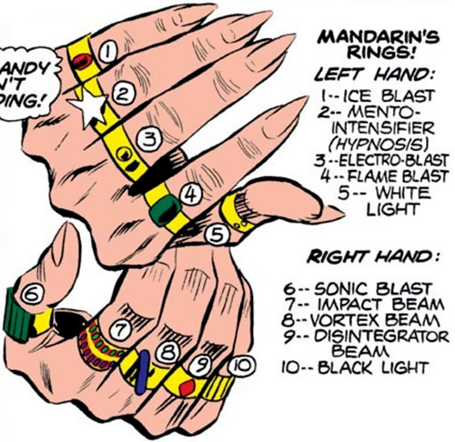 The early Mandarin (Iron Man enemy) (Marvel Comics) rings and hands closeup