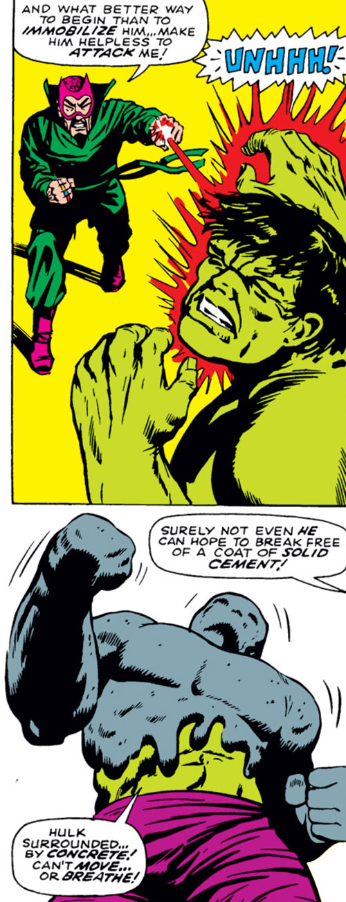 The early Mandarin (Iron Man enemy) (Marvel Comics) covers the Hulk in cement