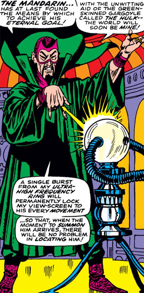 The early Mandarin (Iron Man enemy) (Marvel Comics) and monitoring equipment