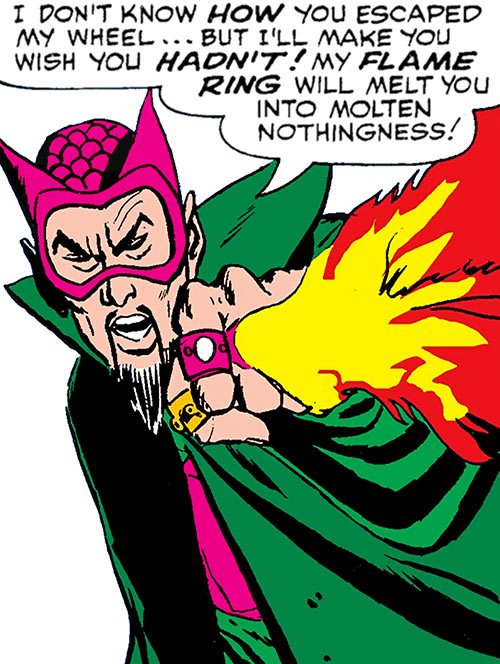 The early Mandarin (Iron Man enemy) (Marvel Comics) shoots fire from his rings