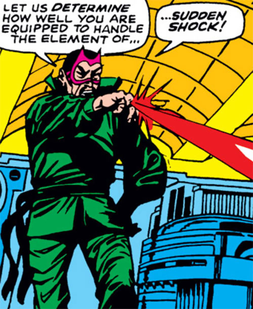 The early Mandarin (Iron Man enemy) (Marvel Comics) shoots red beam from his rings