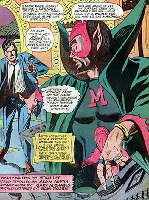 The early Mandarin (Iron Man enemy) (Marvel Comics) and Tony Stark