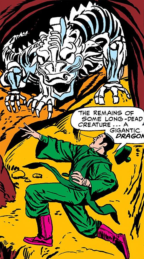 The early Mandarin (Iron Man enemy) (Marvel Comics) finds a Makluan skeleton