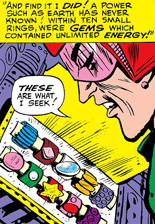 The early Mandarin (Iron Man enemy) (Marvel Comics) discovers his Makluan rings
