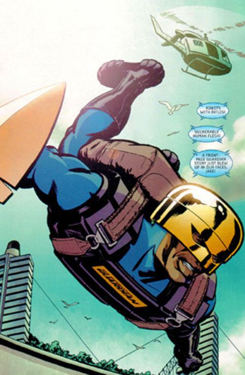 Manhattan Guardian of the 7 Soldiers (DC Comics) parachuting