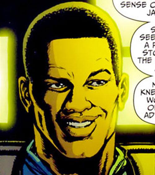 Manhattan Guardian of the 7 Soldiers (DC Comics) face closeup
