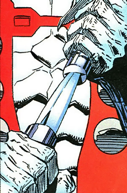 Manhunter (Chase Lawler) (DC Comics) drawing his knife