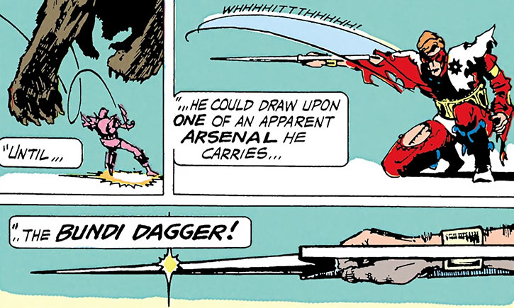 Manhunter (Paul Kirk) draws his bundi dagger