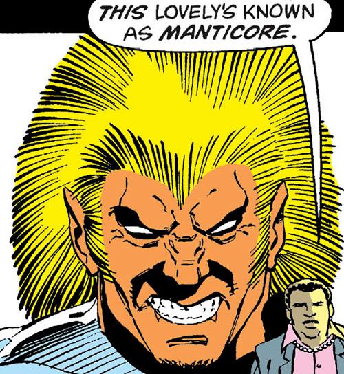 Manticore of the Jihad (Suicide Squad enemy) (DC Comics) face closeup