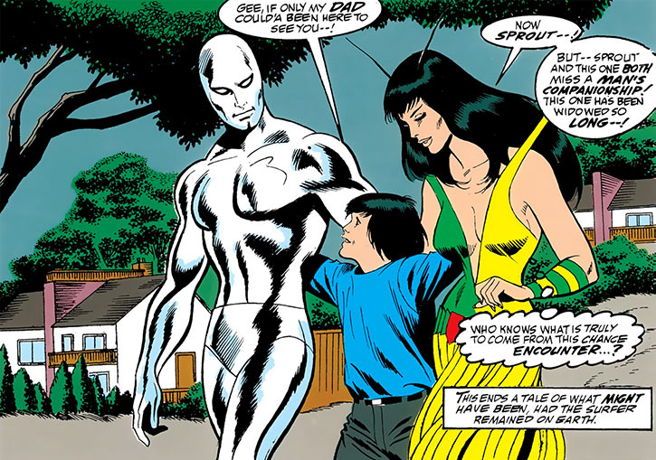 Mantis (Marvel Comics) (Avengers) and the Silver Surfer by Buscema and Abel