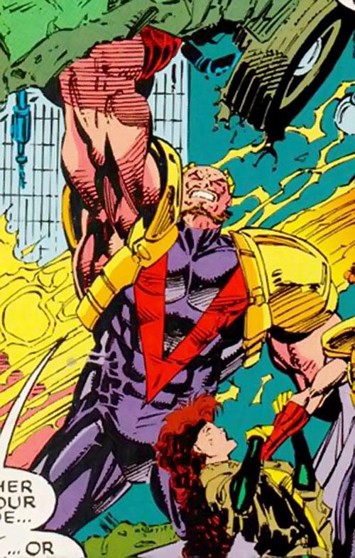 Delgado of the Acolytes of Magneto (X-Men enemy) (Marvel Comics) lifting a wrecked car