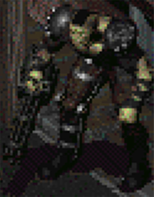 Marcus the super-mutant in Fallout 2, sprite with minigun