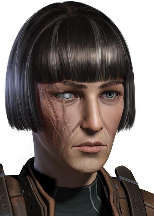 Grim Dawn - Player Character original portrait - Battered warrior woman