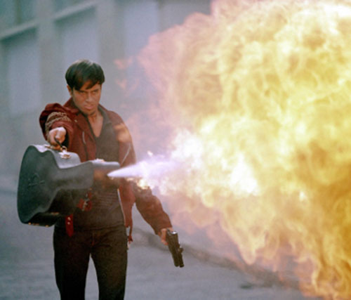 Once Upon A Time in Mexico - Lorenzo (Enrique Iglesias) with his flamethrower guitar