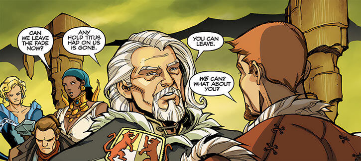 King Maric of Ferelden - Dragon Age The Calling and comics - With adventuring party