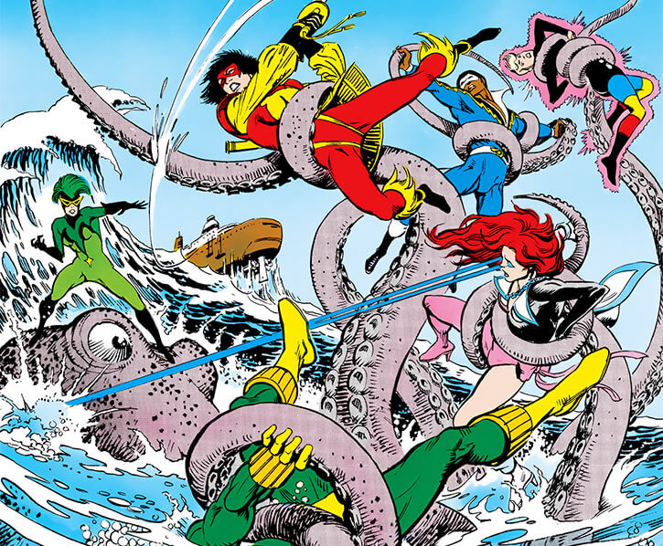 Marine Marauder 2 (DC Comics) - Fighting the Outsiders with a giant octopus
