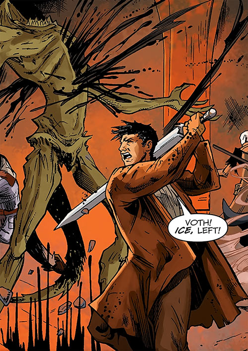 Marius the Magekiller - Dragon Age comics - Rucka - In battle