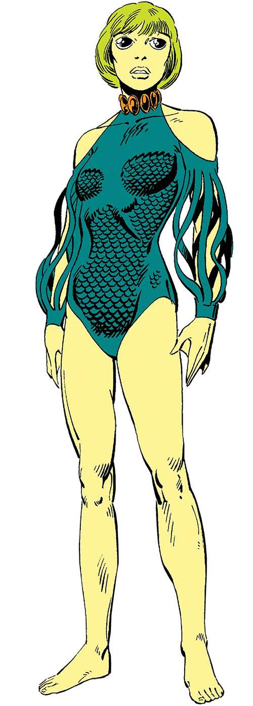 Marrina (Marvel Comics) (Alpha Flight) standing on a beach