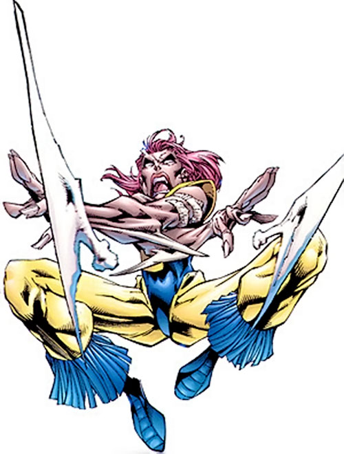 Marrow of the X-Men (Marvel Comics) leaping and hurling two axe-like bones