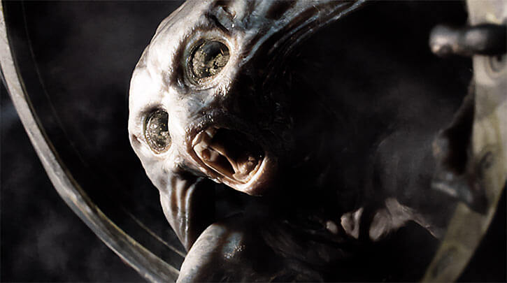 Bat-like Martian invader face closeup