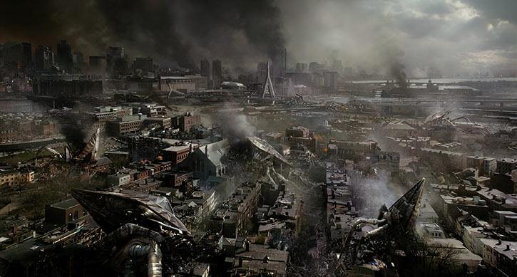 Fallen Martian tripods over a devastated city