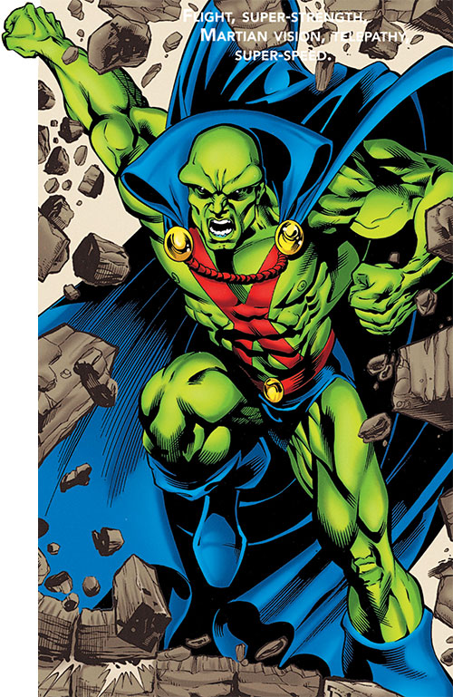 Martian Manhunter smashing through a wall