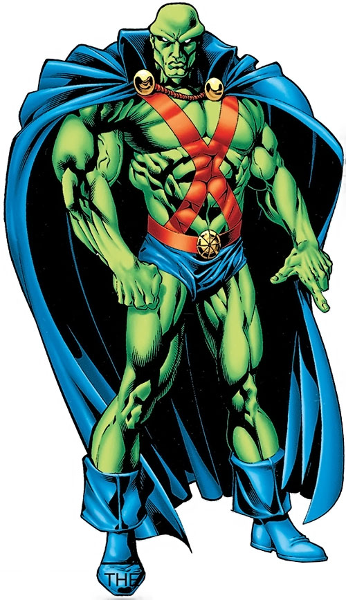 Martian Manhunter over a muscular white background