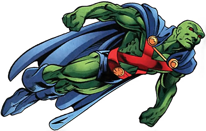 The Martian Manhunter in flight over white background, side view
