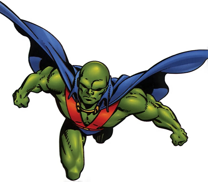 The Martian Manhunter in flight over white background