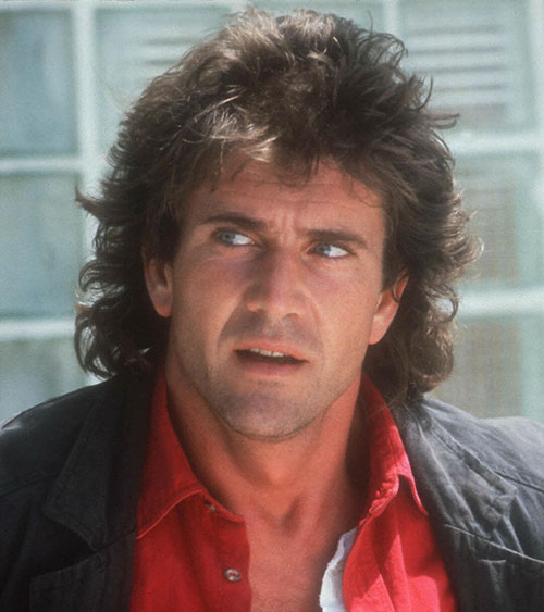 Martin Riggs (Mel Gibson in Lethal Weapon movies) face closeup