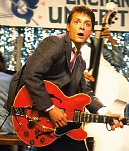 Marty McFly (Michael J Fox in Back to the Future) plays the guitar during the 1950s