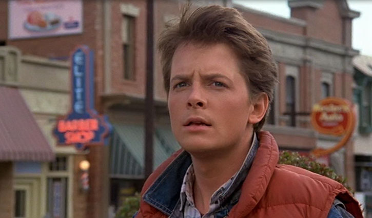 Marty McFly (Michael J. Fox) on a street