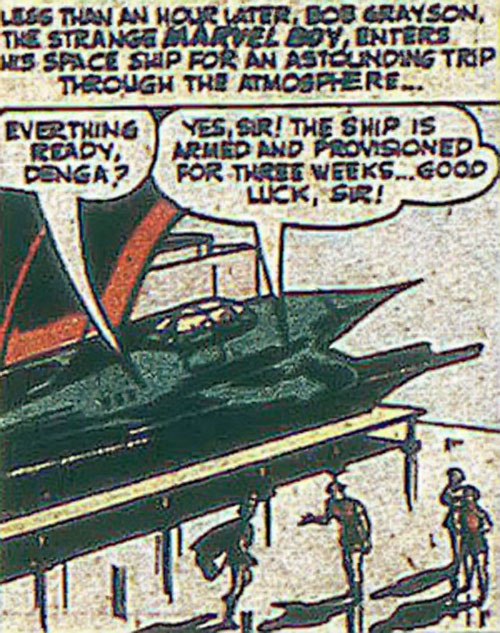 Marvel Boy of the 1950s (Atlas Comics) inspects his space rocket