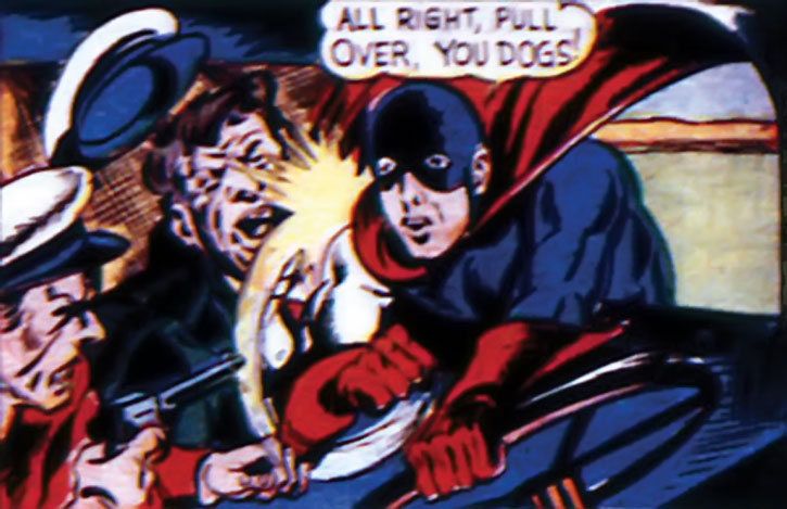Marvel Boy (Martin Burns) punches criminals in a truck